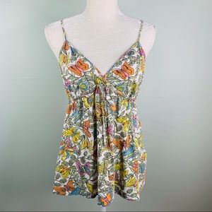 Lucky Brand Camisole Tank Top Large Butterfly